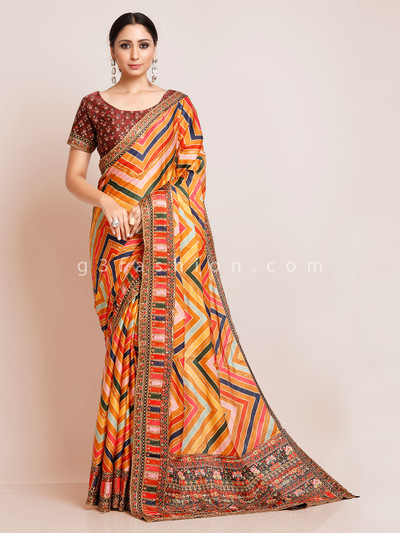 Multicolor zigzag style satin saree with readymade blouse