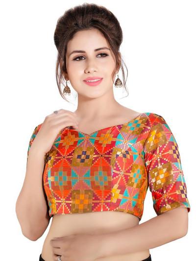 Multicolour designer cotton silk readymade blouse