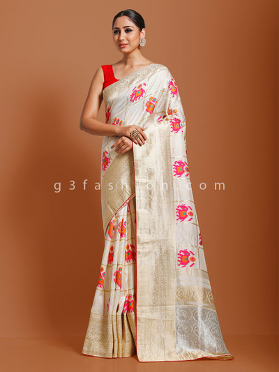 Muga silk cream wedding saree