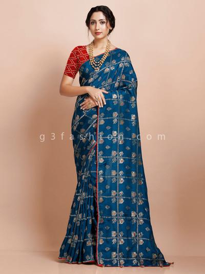 Muga silk festive blue with contrast piping saree