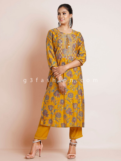 Mustard color punjabi style cotton printed festive pant suit