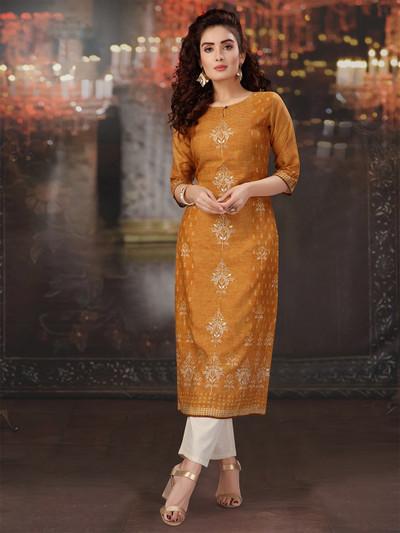 Mustard cotton festive wear kurti