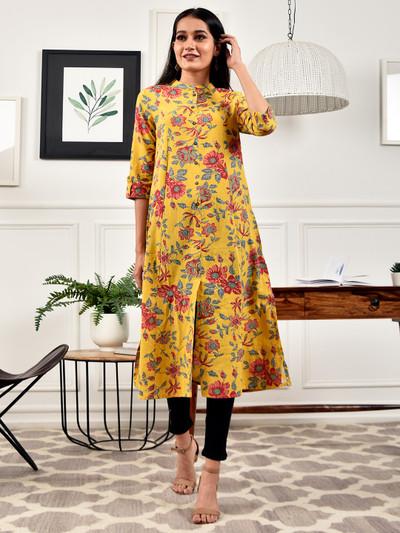 Mustard printed cotton casual wear kurti