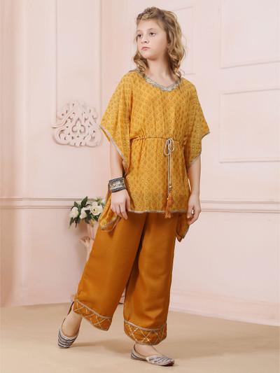 Mustard yellow cotton silk punjabi palazzo suit for girls