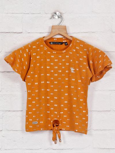 Mustard yellow printed cotton cotton top