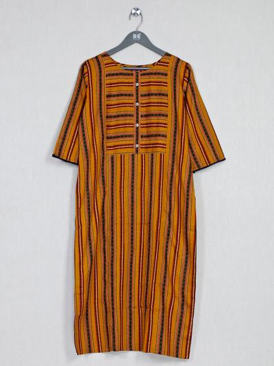 Mustard yellow striped kurti in cotton