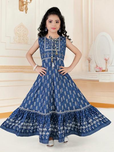 Navy anarkali suit for girls in cotton silk