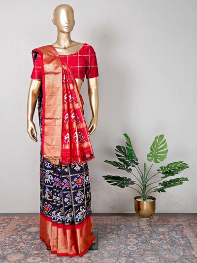 Navy and red patola silk saree for wedding