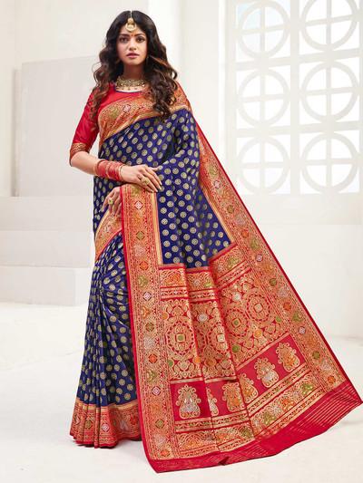 Navy banarasi silk wedding wear saree