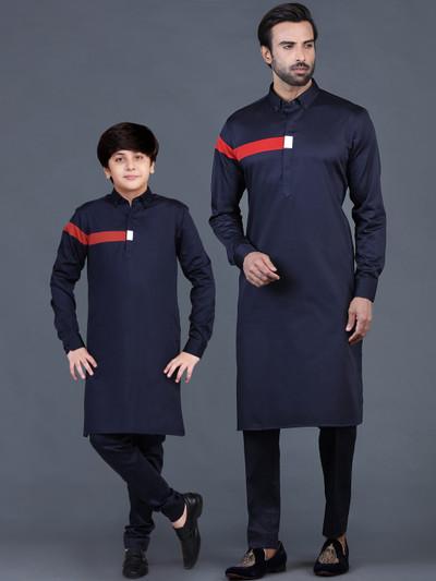 Navy blue cotton plain father-son pathani suit