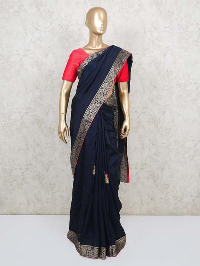 Navy blue dola silk saree for wedding reception