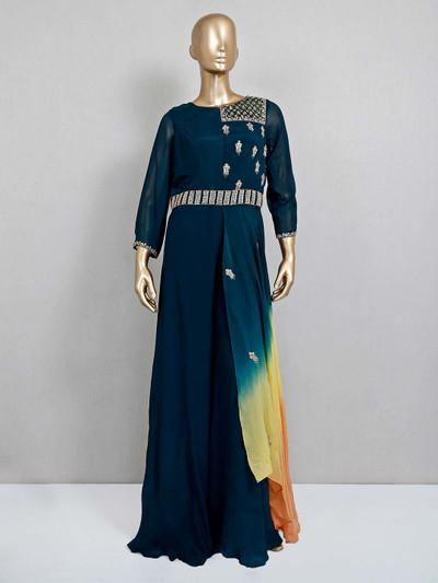 Navy blue georgette designer indo western salwar suit