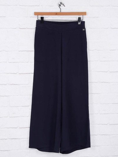 Navy blue solid cotton palazzo