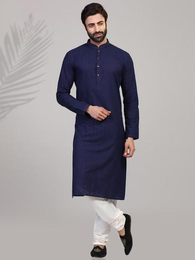Navy chikan thread mens kurta suit