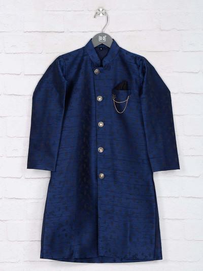 Navy color raw silk indo western