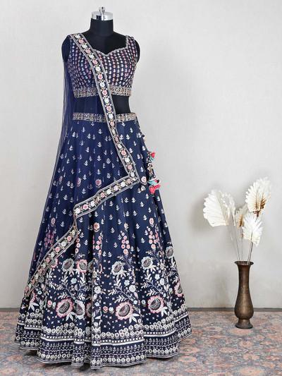 Navy colour raw silk wedding wear lehenga