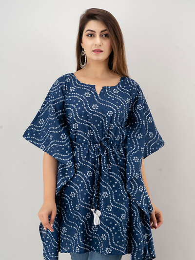 Navy cotton casual wear printed kurti