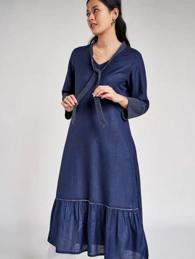 Navy cotton festive wear tunic for women