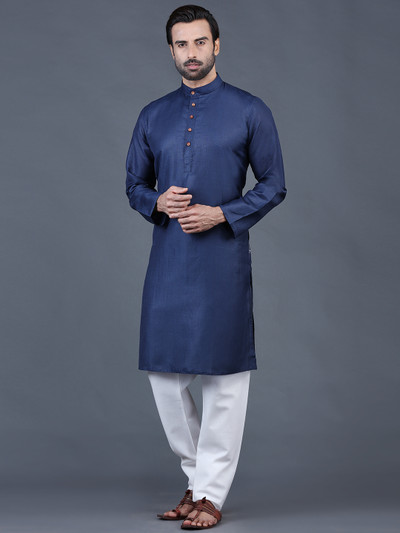 Navy cotton full sleeves solid kurta suit