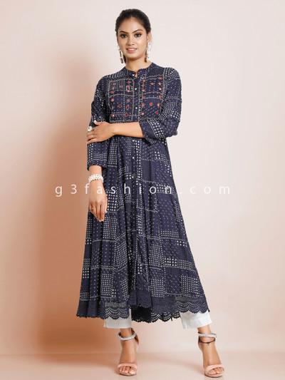Navy cotton printed kurti for causal look