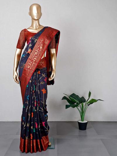 Navy cotton saree for women