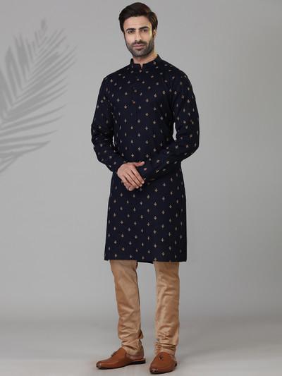 Navy cotton silk kurta suit with zari touch