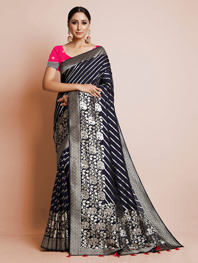 Navy dola silk saree for wedding events
