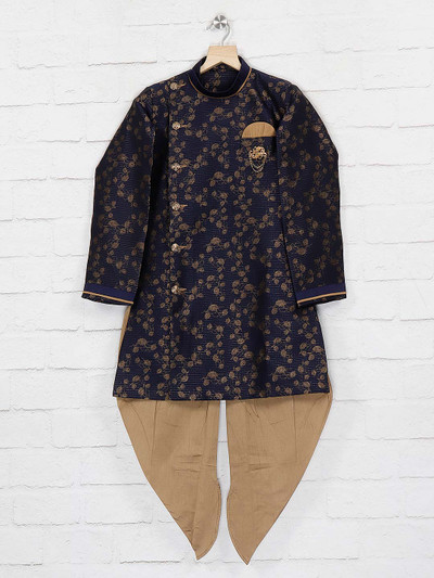Navy hue silk fabric boys indo western for party