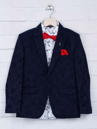 Navy hue textured pattern party tuxedo suit