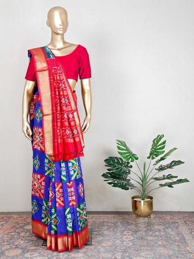 Royal blue hue wedding saree in patola silk