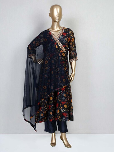 Navy pant style salwar suit in cotton