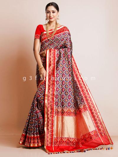 Navy patola silk wedding wear designer sari