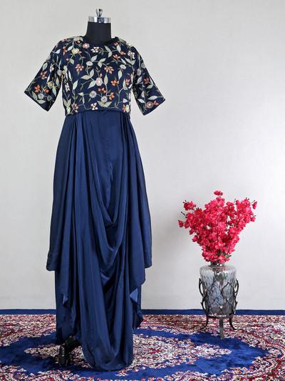 Navy raw silk wedding wear indo western suit