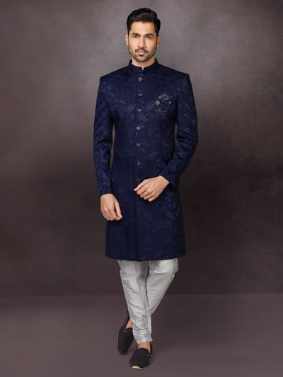 Navy textured indo western for wedding function