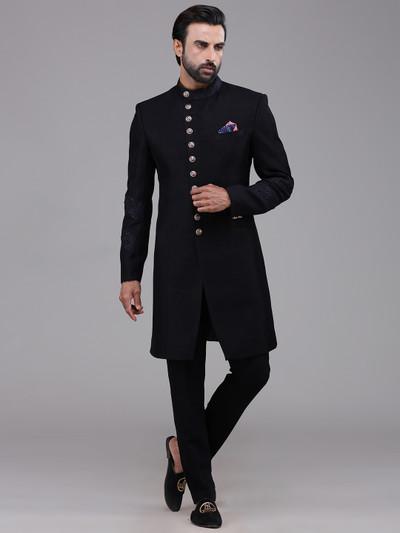 Navy wedding silk indo western