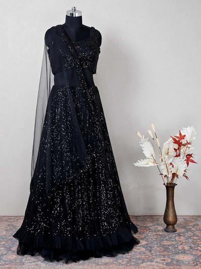 Net black lehenga choli for wedding
