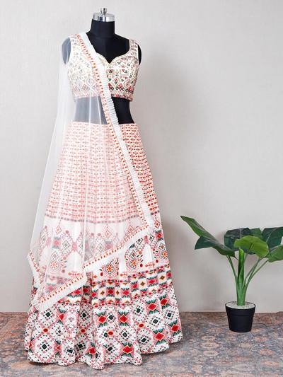 Net cream lehenga choli for wedding events