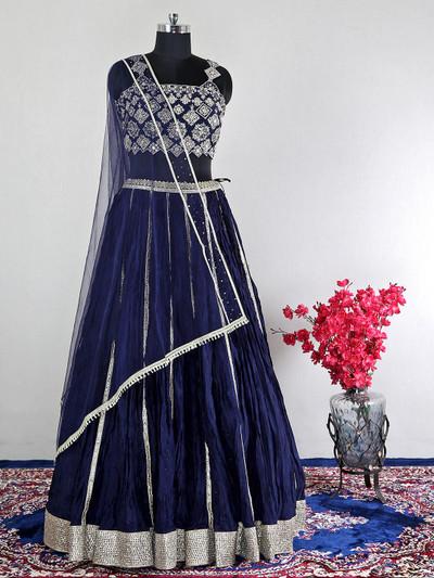 Net dark blue wedding wear lehenga choli