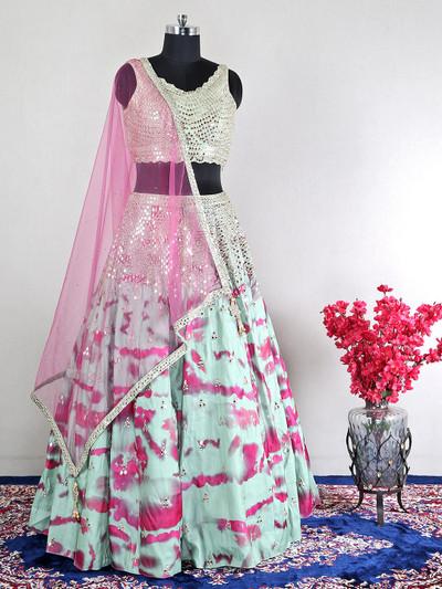 net green wedding wear lehenga choli
