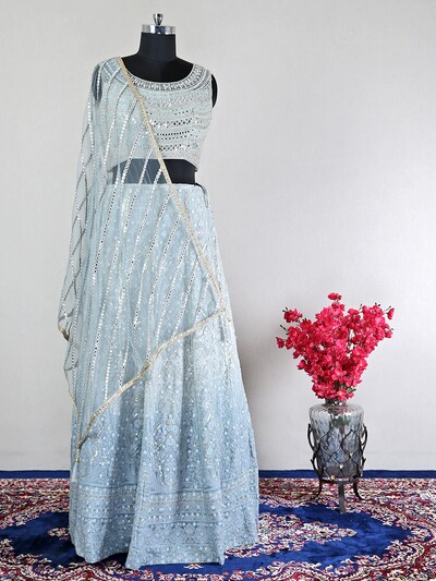Net grey beautiful wedding lehenga choli