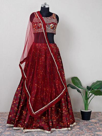 Net maroon lehenga choli for wedding