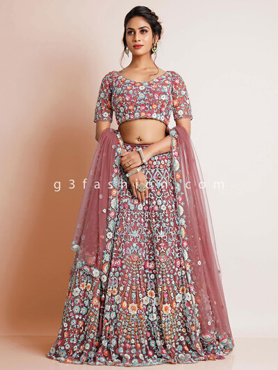 Net onion pink lehenga choli for wedding