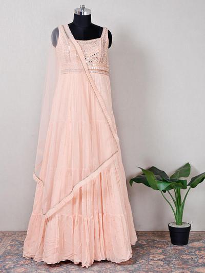 Net peach wedding wear anarkali suit