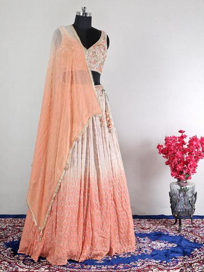 Net peach wedding wear lehenga choli