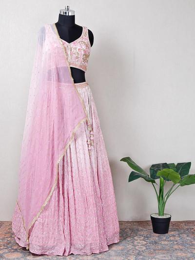 Net pink beautiful lehenga choli for wedding