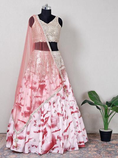 Net pink designer lehenga choli for wedding