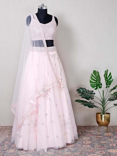 Net pink wedding wear beautiful lehenga choli