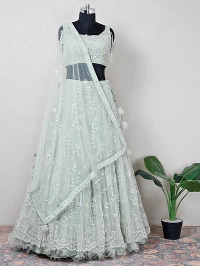 Net pista green designer wedding wear lehenga choli