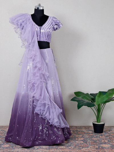 Net purple wedding wear lehenga choli