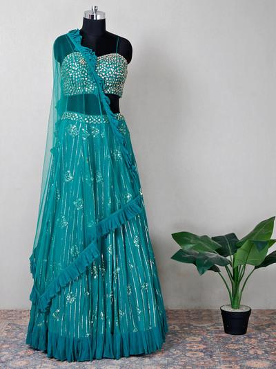 Net rama green beautiful lehenga choli for wedding
